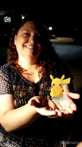 Shelly Craver with newly caught Pikachu!