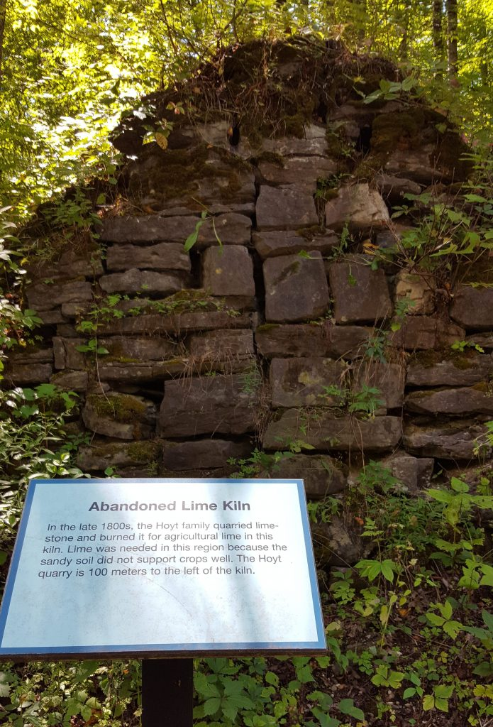 Remnants of the Hoyt Family lime kiln where limestone was burned to be mixed with soil to improve the soil quality.