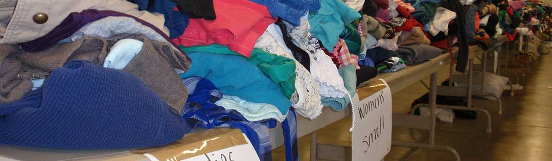 Clothing donation table