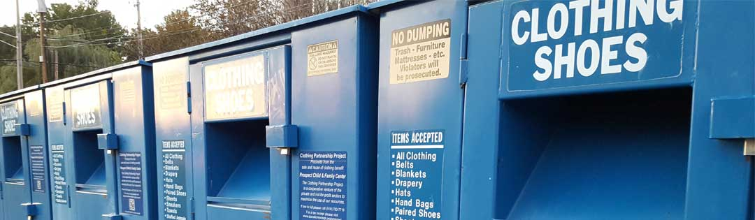 Blue clothing donation bin