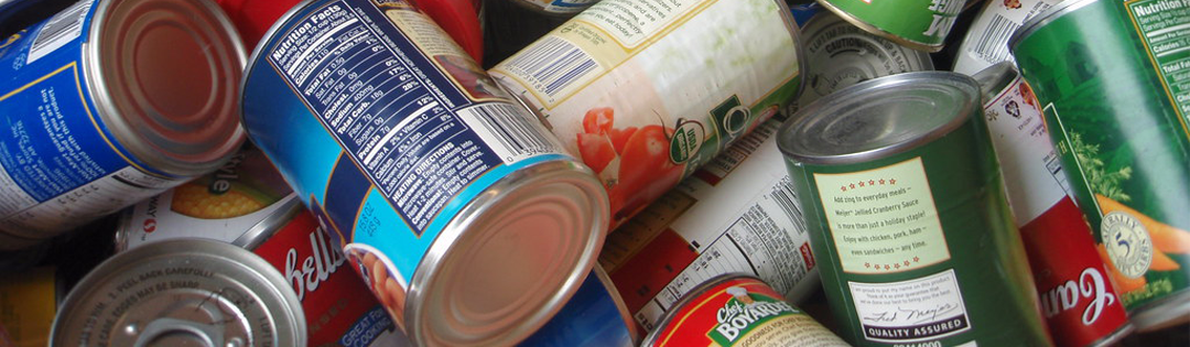 Pile of canned foods