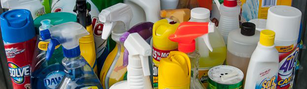 Pile of general household cleaning products